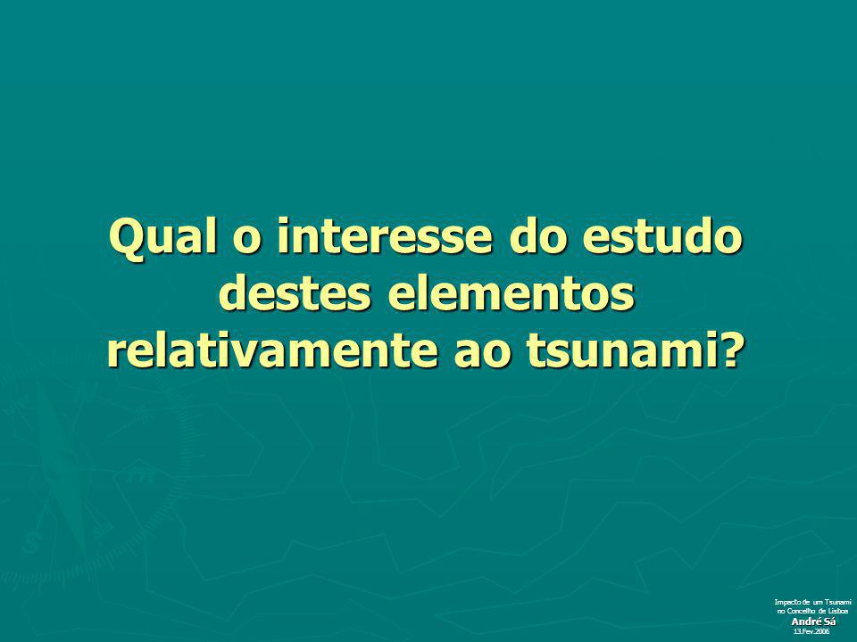 Qual o interesse do estudo destes elementos relativamente ao tsunami