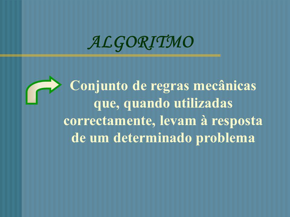 ALGORITMO Conjunto de regras mecânicas que, quando utilizadas correctamente, levam à resposta de um determinado problema.