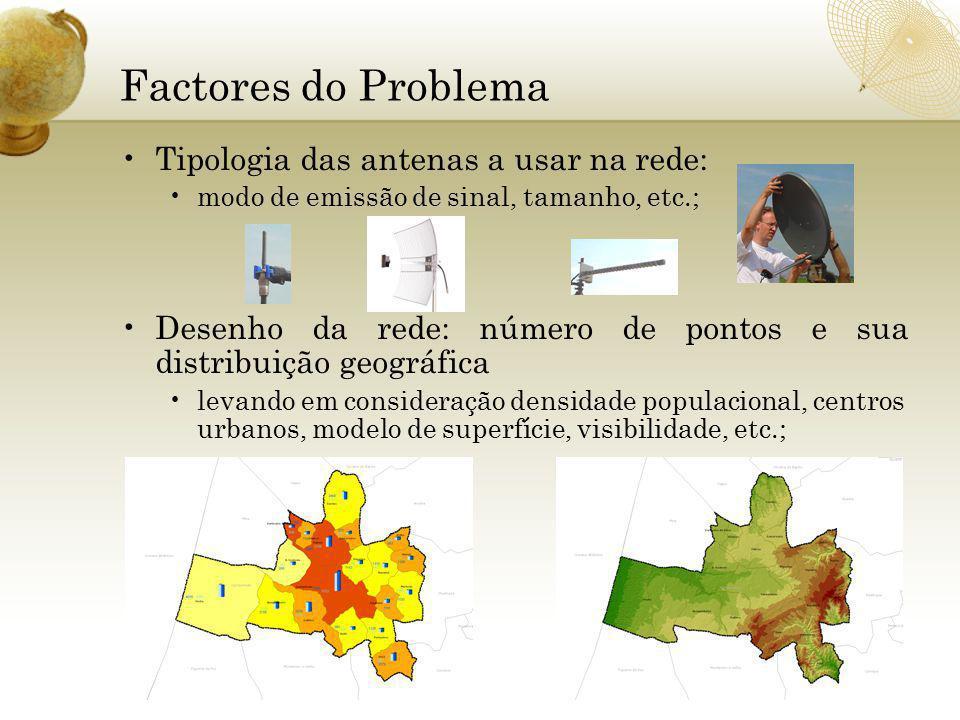 Factores do Problema Tipologia das antenas a usar na rede: