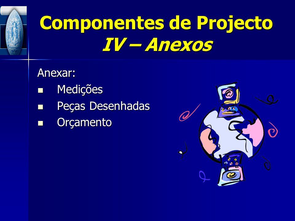 Componentes de Projecto IV – Anexos
