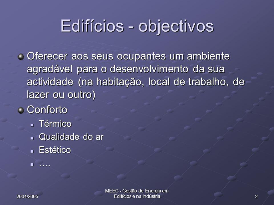 Edifícios - objectivos