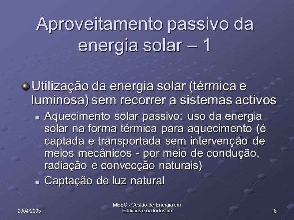 Aproveitamento passivo da energia solar – 1