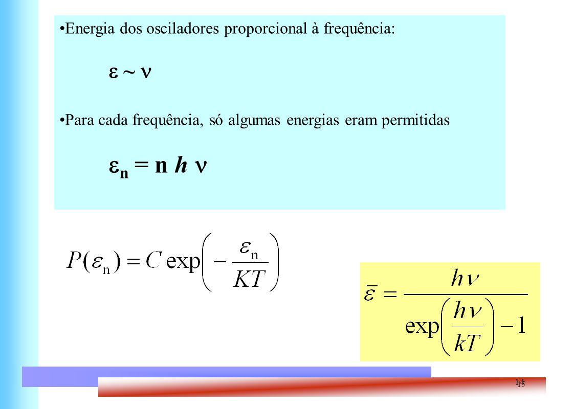 Energia dos osciladores proporcional à frequência: e ~ n