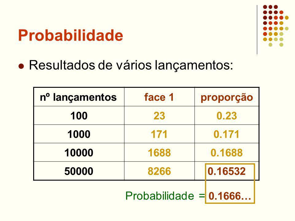 Probabilidade Resultados de vários lançamentos: