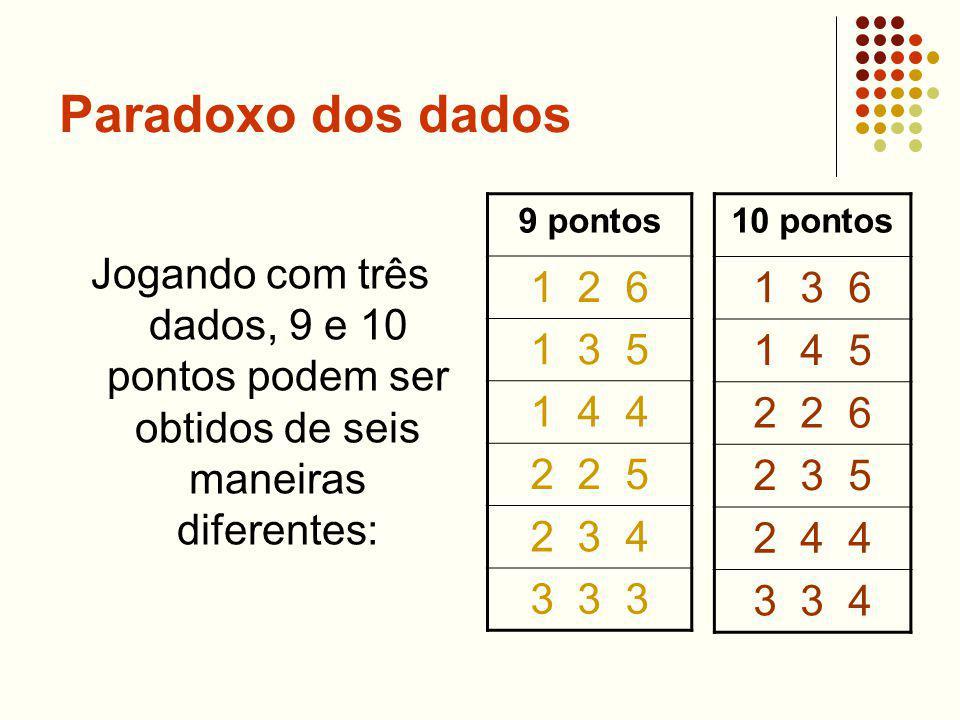 Paradoxo dos dados Jogando com três dados, 9 e 10 pontos podem ser obtidos de seis maneiras diferentes: