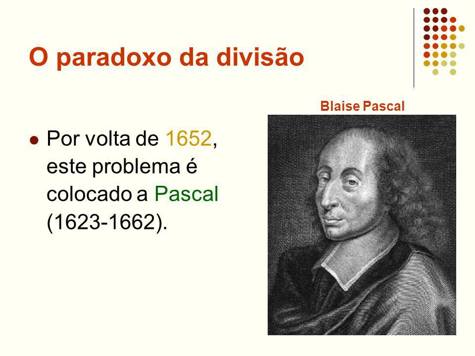 O paradoxo da divisão Por volta de 1652, este problema é colocado a Pascal (1623-1662).