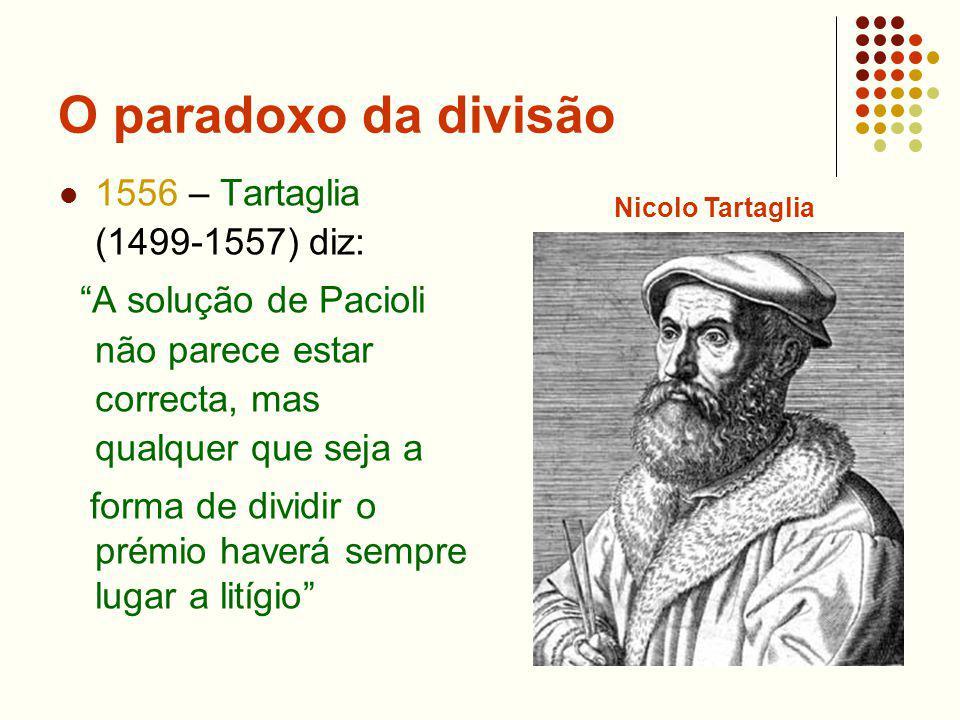 O paradoxo da divisão 1556 – Tartaglia (1499-1557) diz: