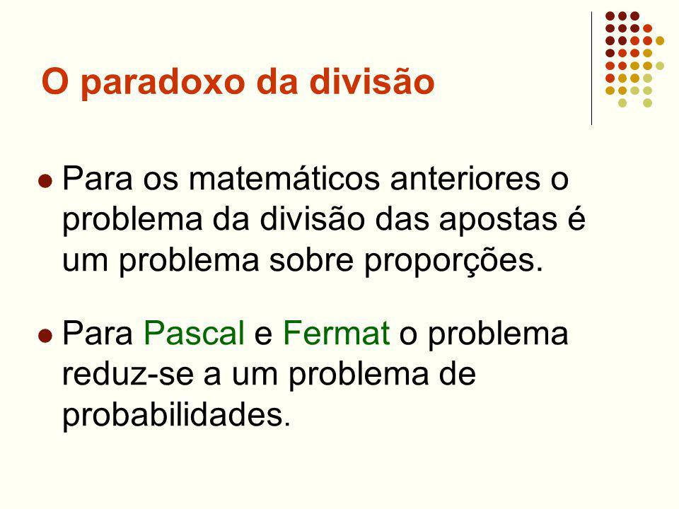 O paradoxo da divisão Para os matemáticos anteriores o problema da divisão das apostas é um problema sobre proporções.