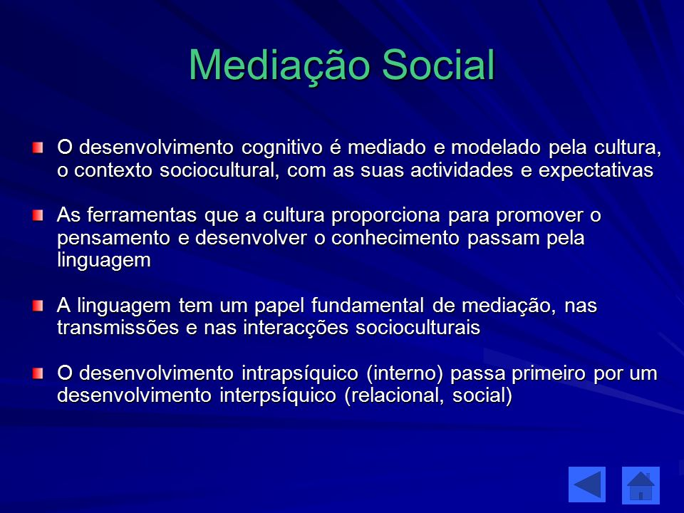 Mediação Social O desenvolvimento cognitivo é mediado e modelado pela cultura, o contexto sociocultural, com as suas actividades e expectativas.