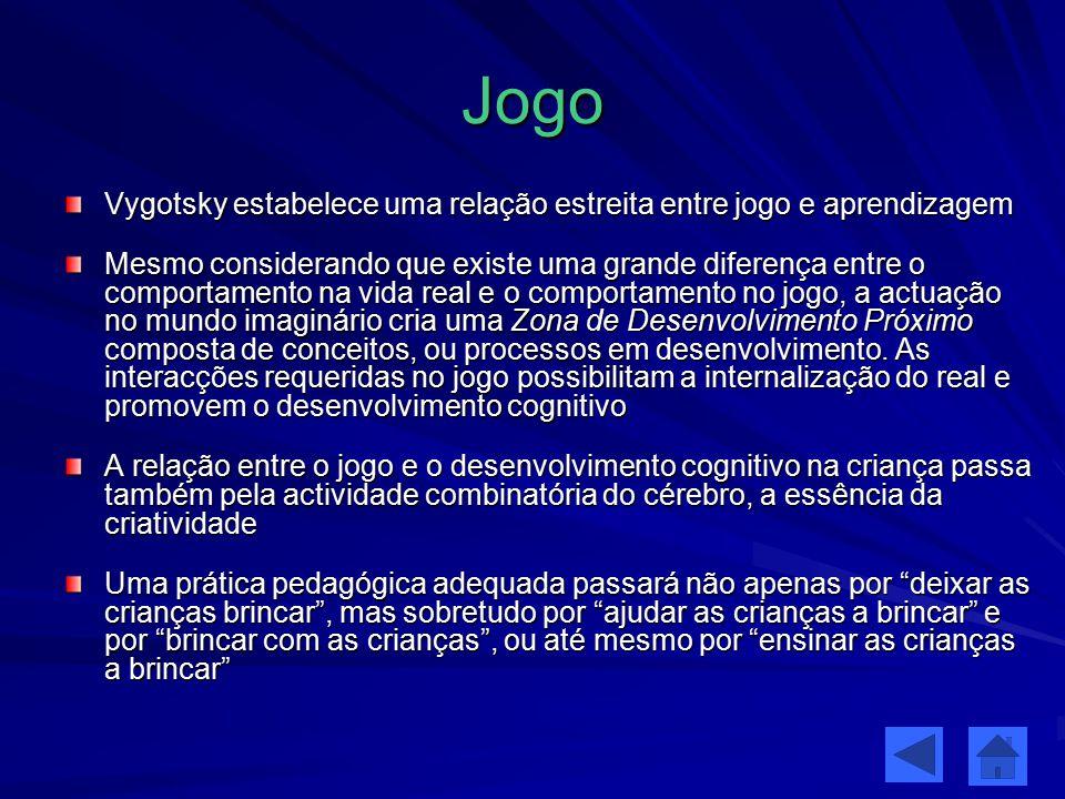 Jogo Vygotsky estabelece uma relação estreita entre jogo e aprendizagem.