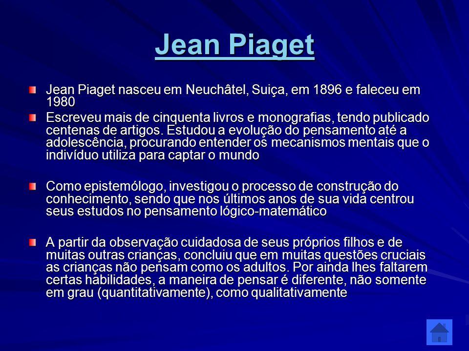 Jean Piaget Jean Piaget nasceu em Neuchâtel, Suiça, em 1896 e faleceu em 1980.