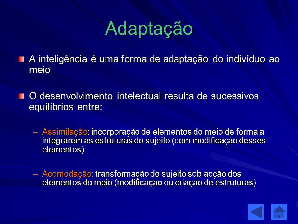 Adaptação A inteligência é uma forma de adaptação do indivíduo ao meio