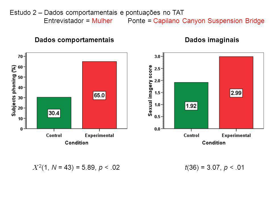 Estudo 2 – Dados comportamentais e pontuações no TAT