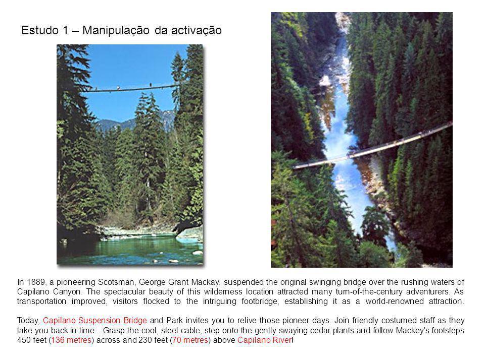 Estudo 1 – Manipulação da activação
