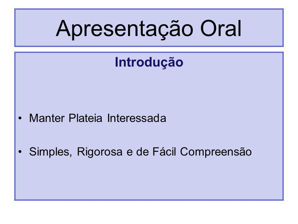 Apresentação Oral Introdução Manter Plateia Interessada