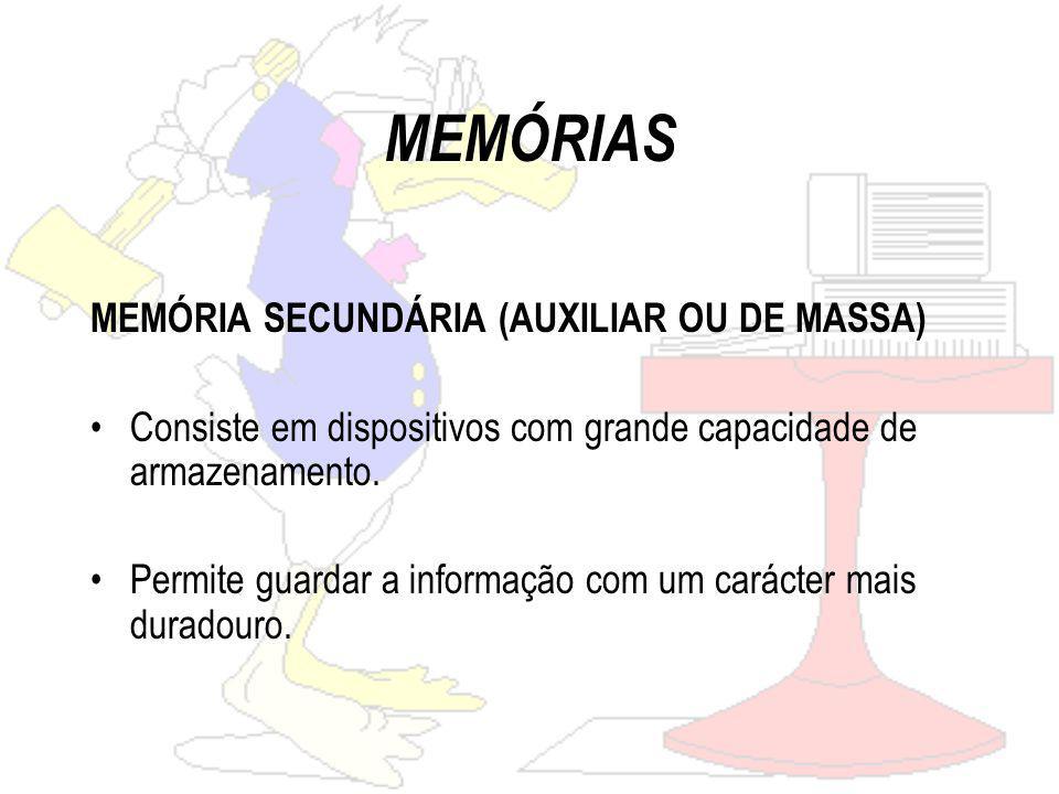 MEMÓRIAS MEMÓRIA SECUNDÁRIA (AUXILIAR OU DE MASSA)