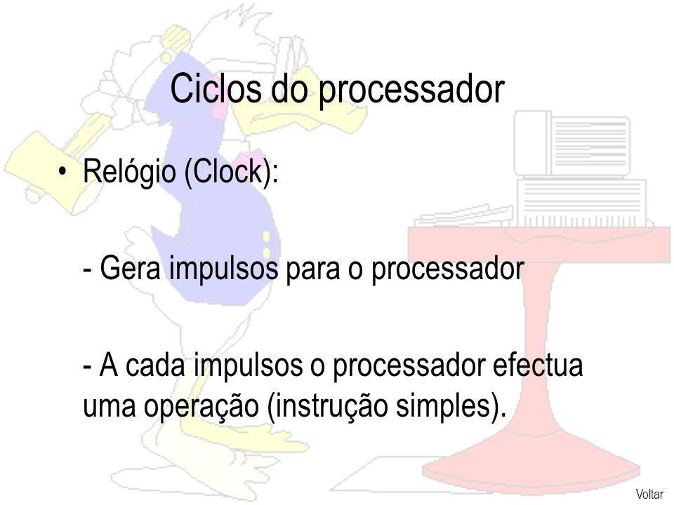 Ciclos do processador Relógio (Clock):