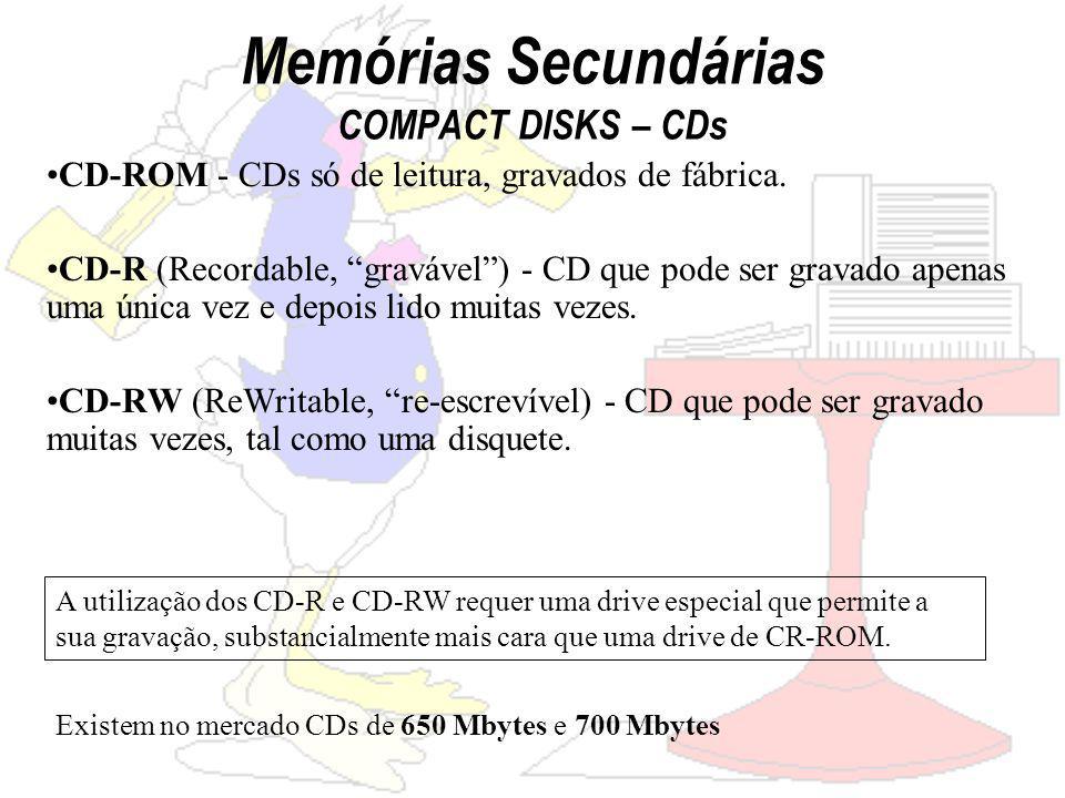 Memórias Secundárias COMPACT DISKS – CDs