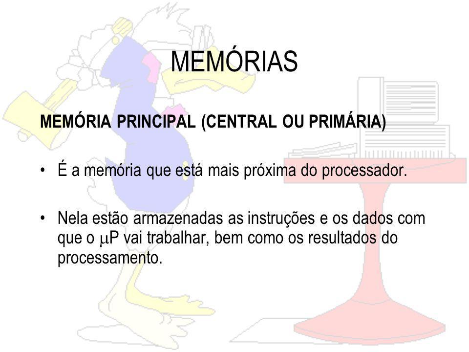 MEMÓRIAS MEMÓRIA PRINCIPAL (CENTRAL OU PRIMÁRIA)
