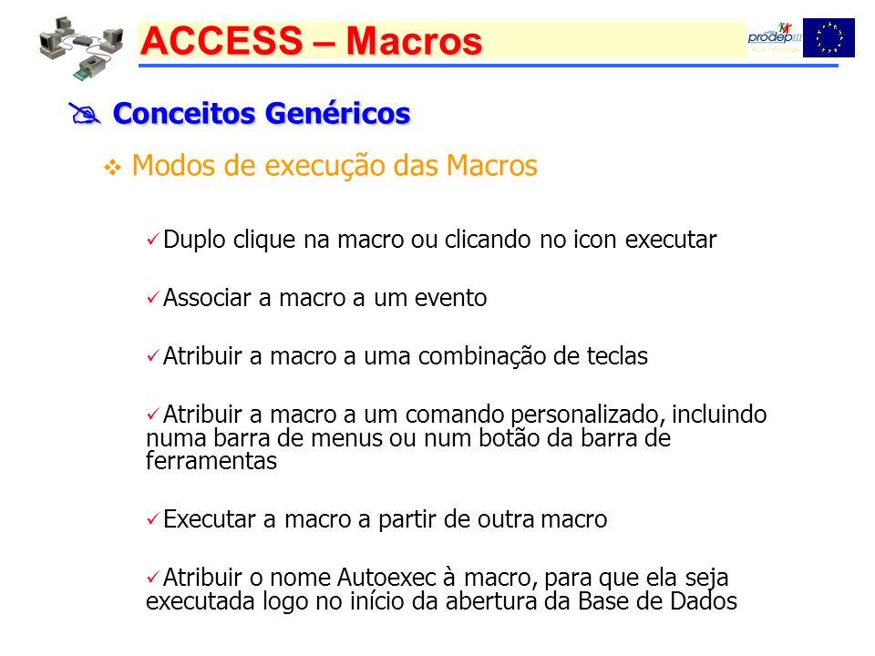  Conceitos Genéricos Modos de execução das Macros