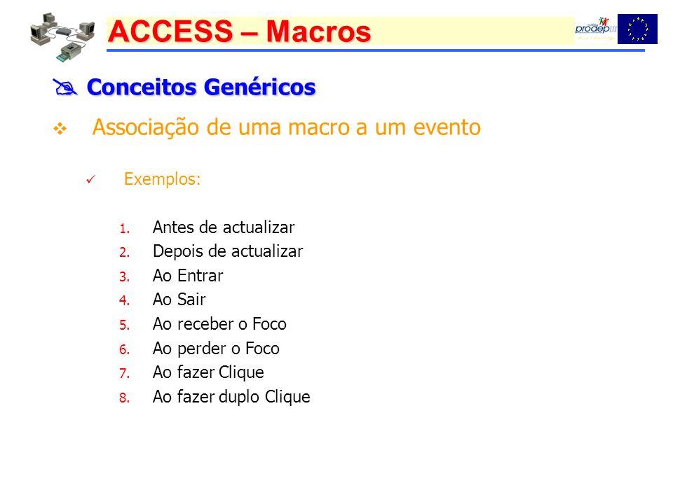  Conceitos Genéricos Associação de uma macro a um evento Exemplos: