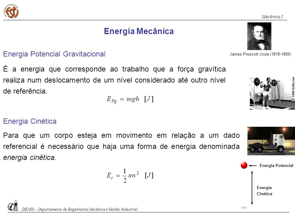 Energia Mecânica Energia Potencial Gravitacional