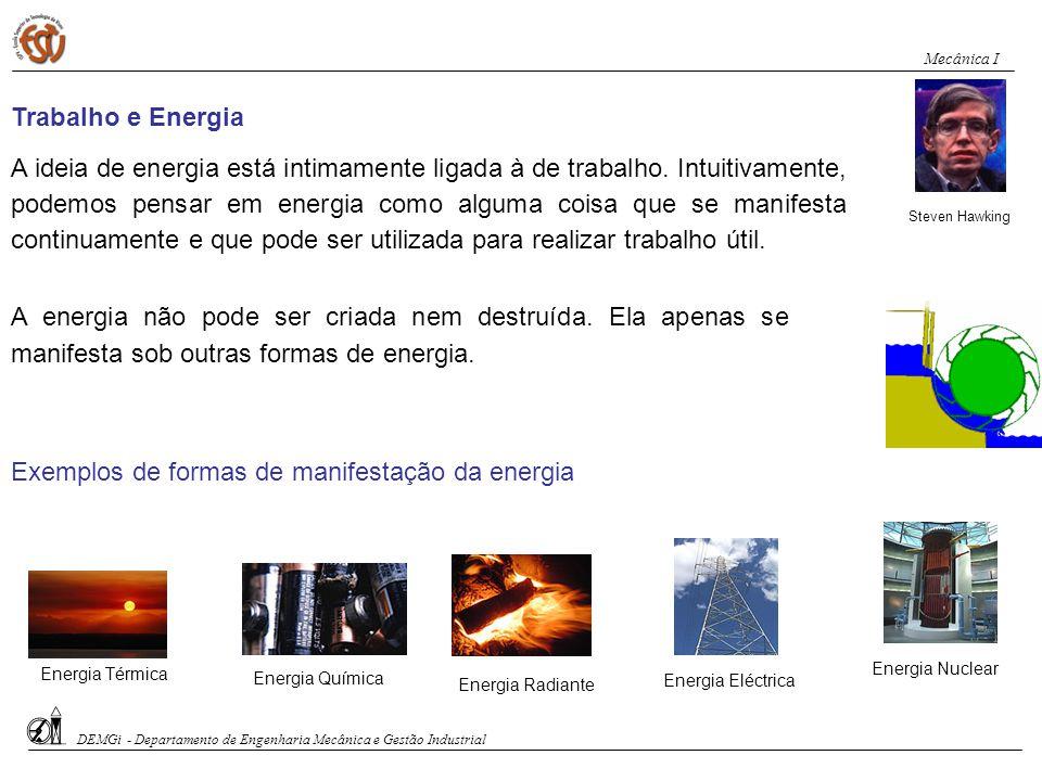 Exemplos de formas de manifestação da energia