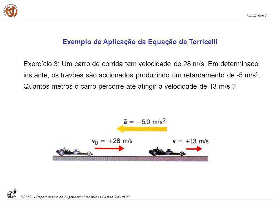 Exemplo de Aplicação da Equação de Torricelli