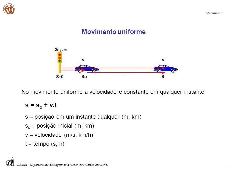 Movimento uniforme s = so + v.t