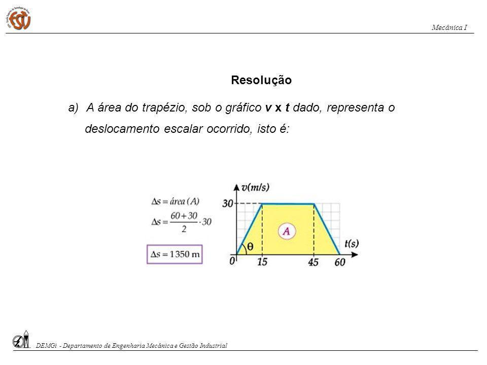 A área do trapézio, sob o gráfico v x t dado, representa o