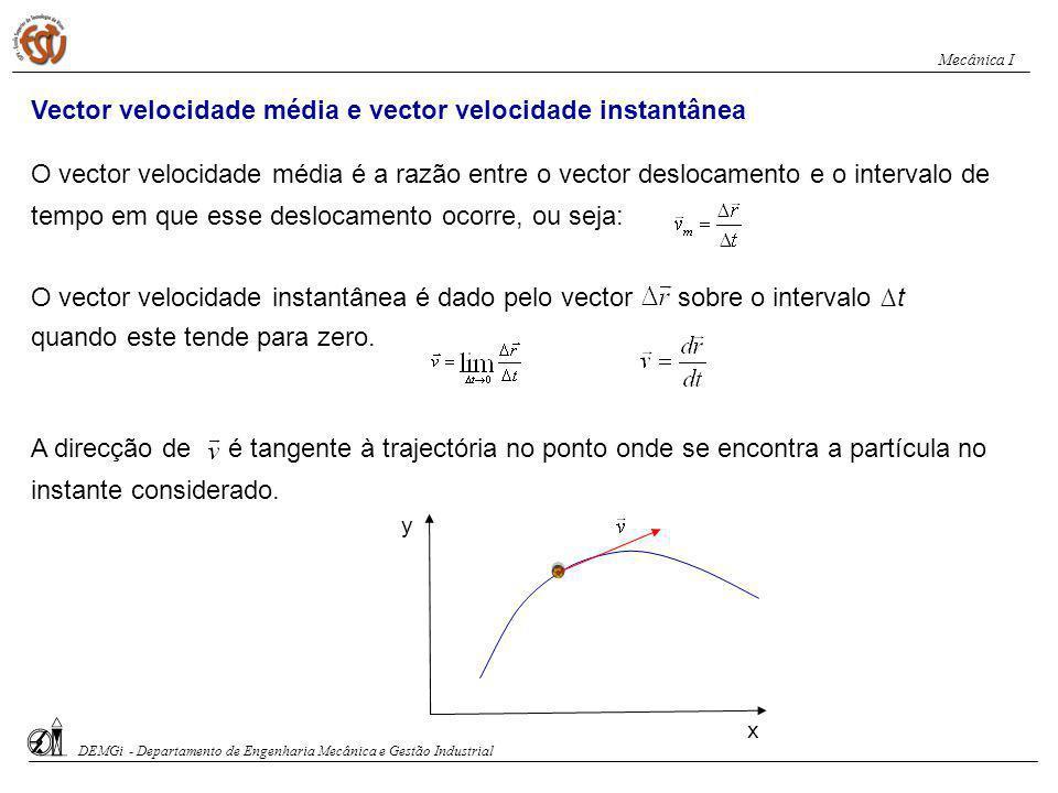 Vector velocidade média e vector velocidade instantânea