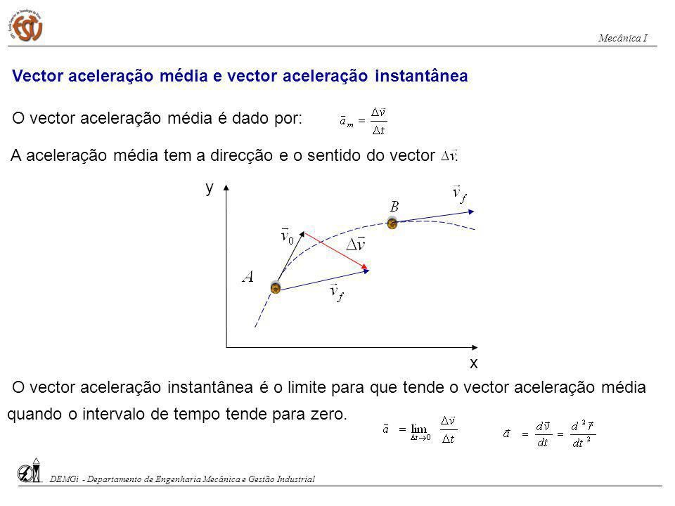 Vector aceleração média e vector aceleração instantânea