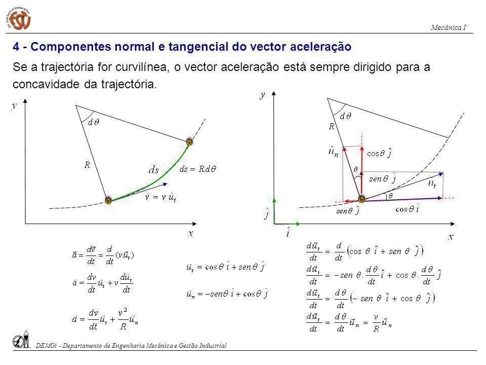 4 - Componentes normal e tangencial do vector aceleração