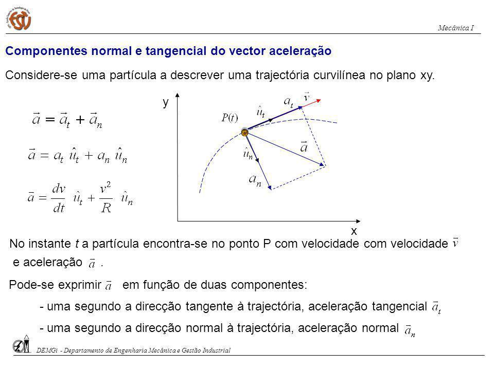 Componentes normal e tangencial do vector aceleração