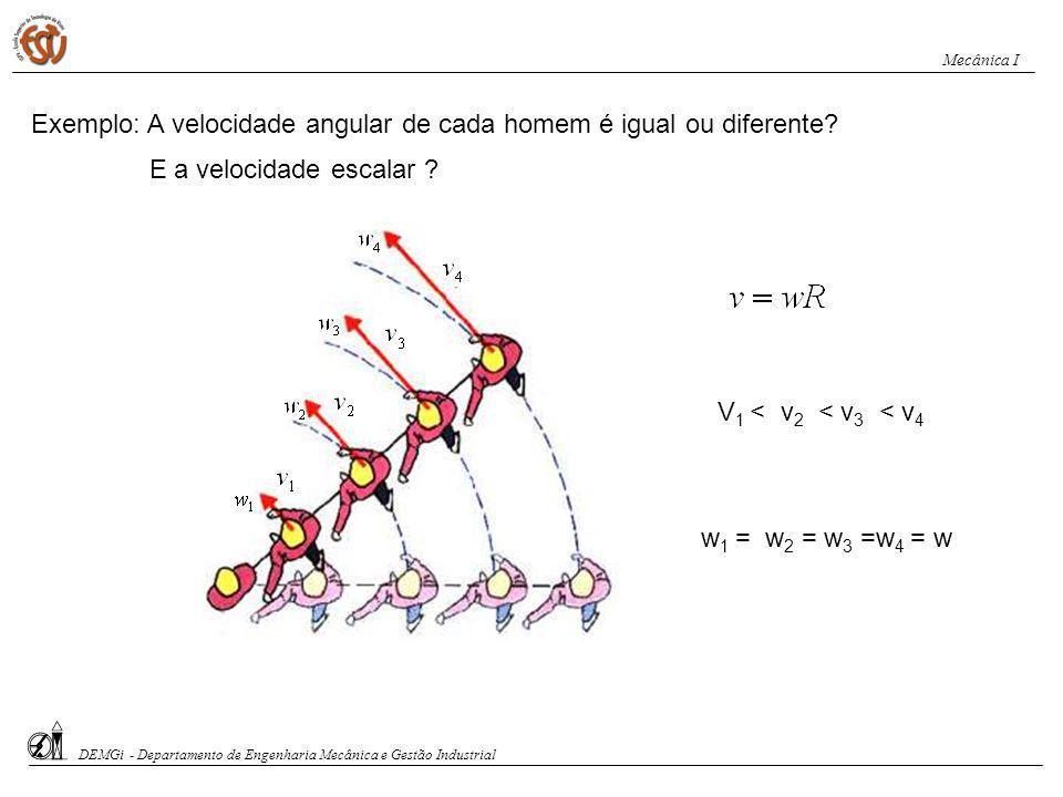 Exemplo: A velocidade angular de cada homem é igual ou diferente