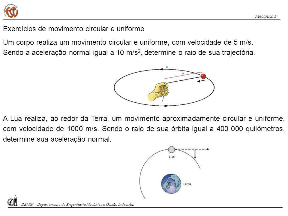 Exercícios de movimento circular e uniforme