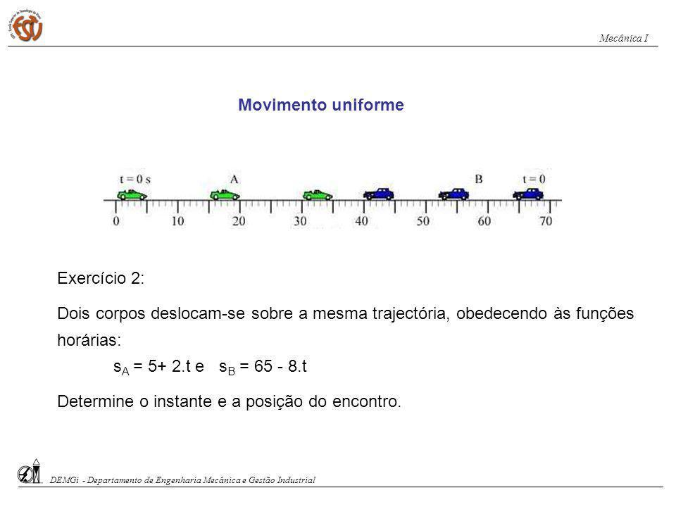Movimento uniforme Exercício 2: