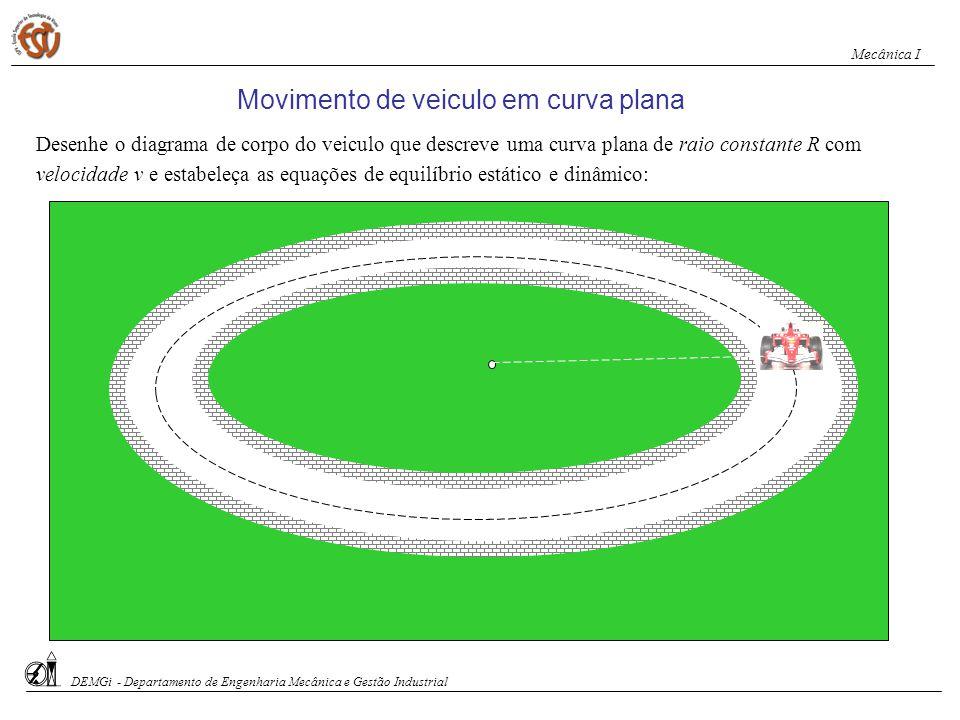 Movimento de veiculo em curva plana