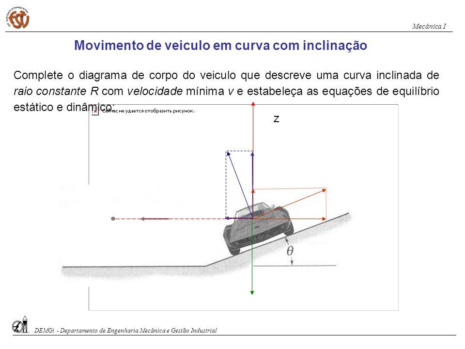 Movimento de veiculo em curva com inclinação