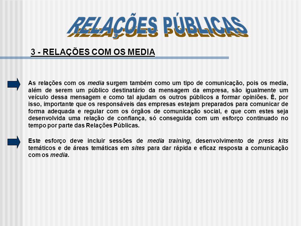 RELAÇÕES PÚBLICAS 3 - RELAÇÕES COM OS MEDIA