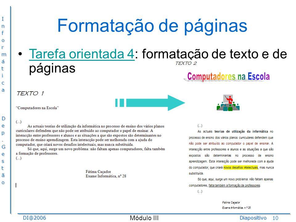 Formatação de páginas Tarefa orientada 4: formatação de texto e de páginas