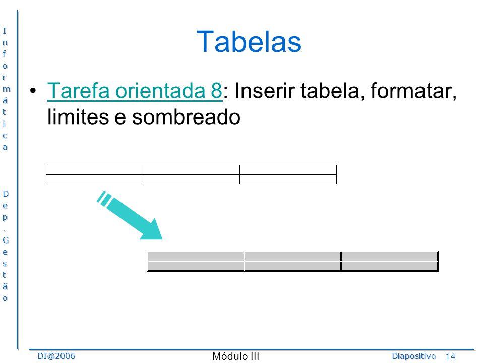 Tabelas Tarefa orientada 8: Inserir tabela, formatar, limites e sombreado.