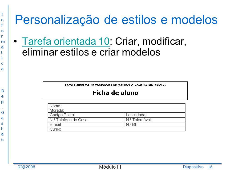 Personalização de estilos e modelos
