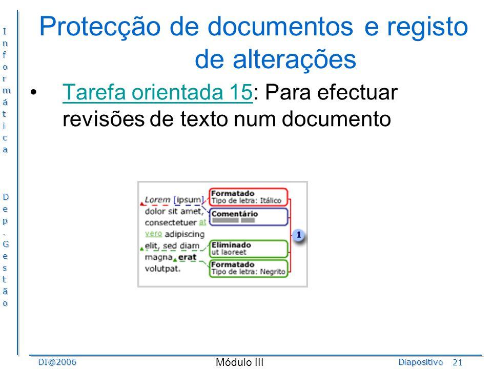 Protecção de documentos e registo de alterações