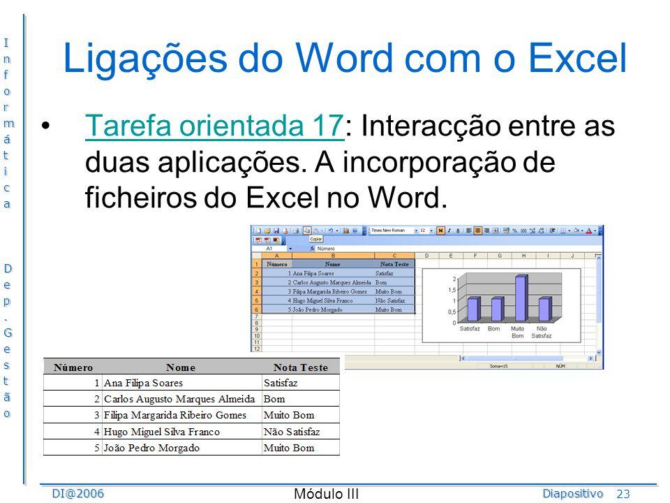 Ligações do Word com o Excel