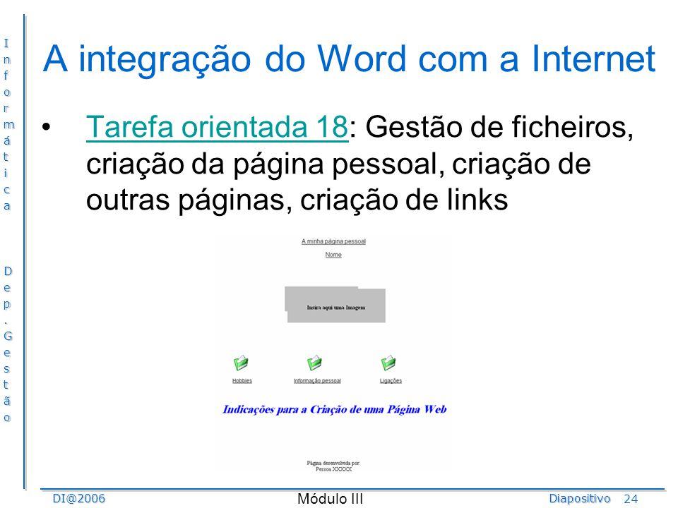 A integração do Word com a Internet