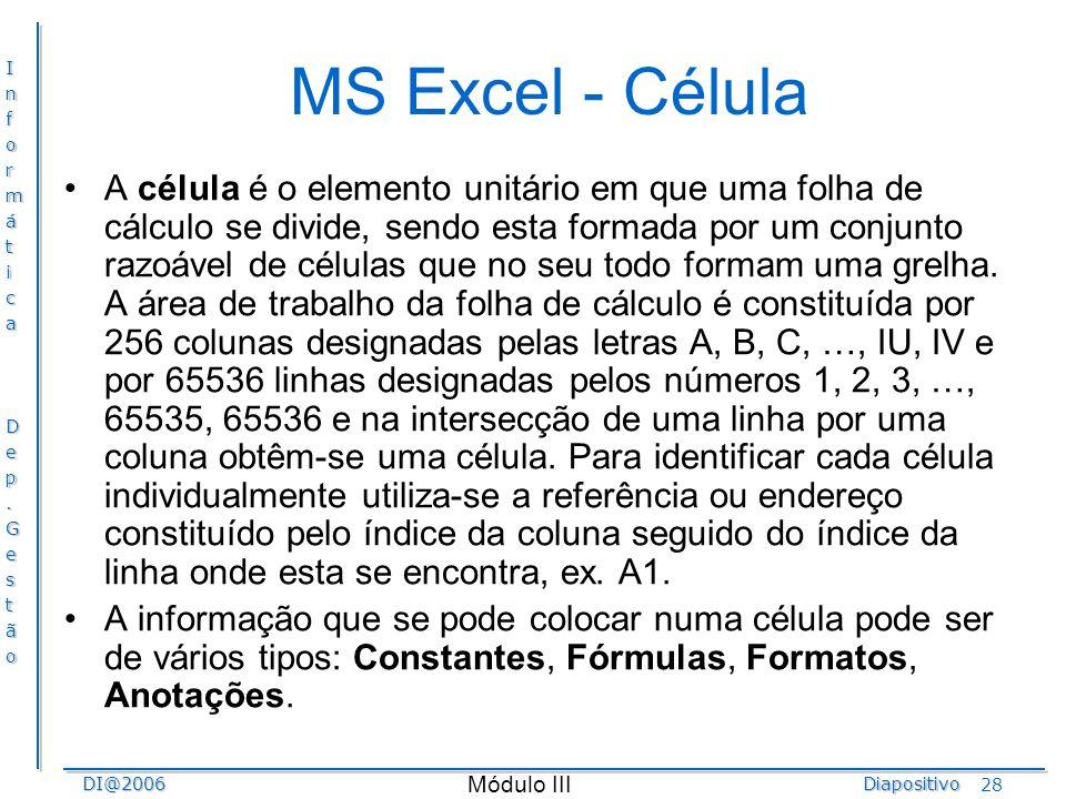 MS Excel - Célula