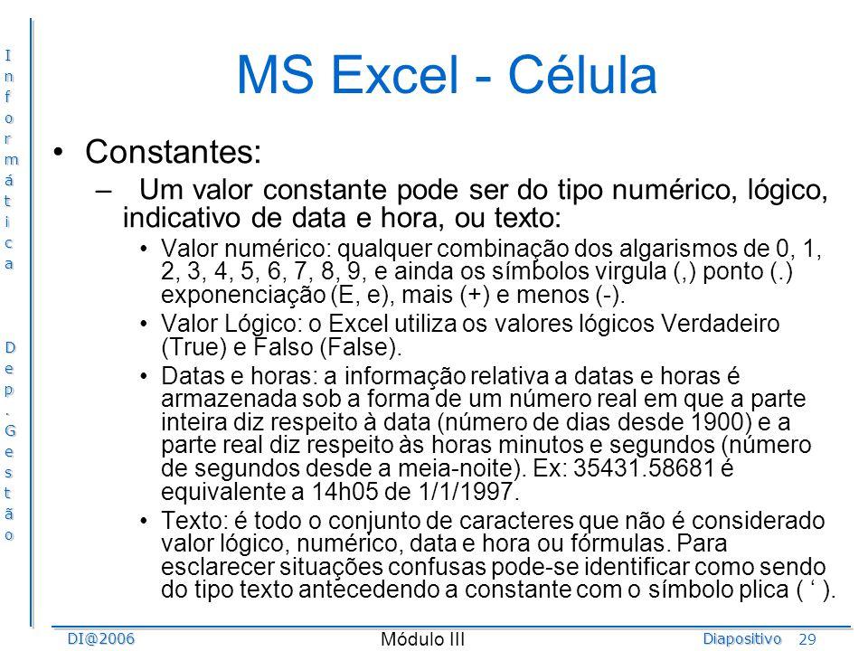 MS Excel - Célula Constantes: