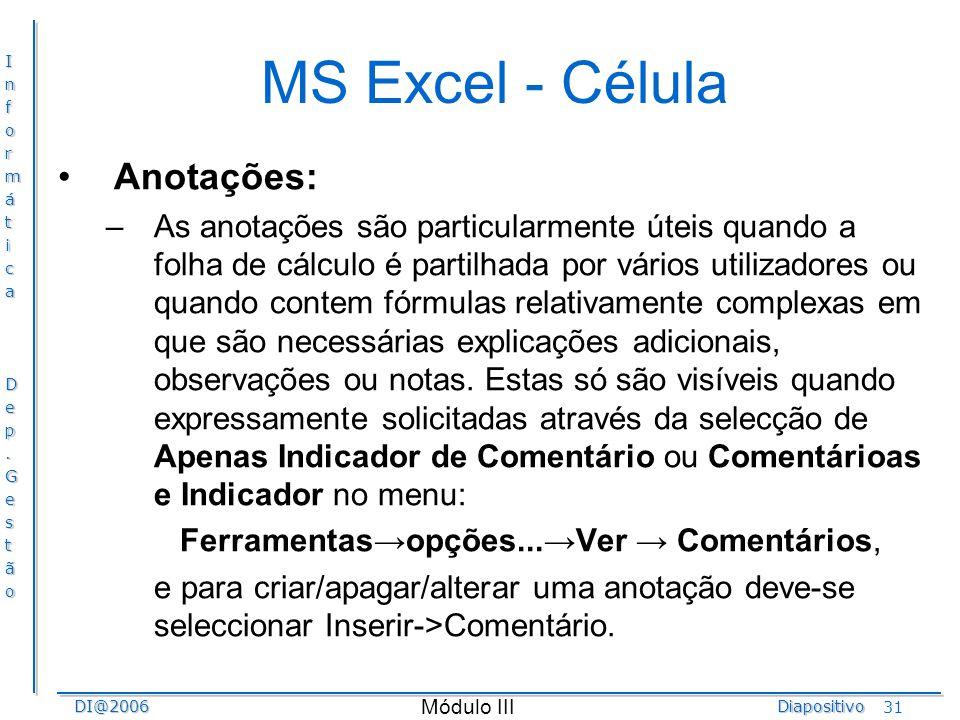 MS Excel - Célula Anotações: