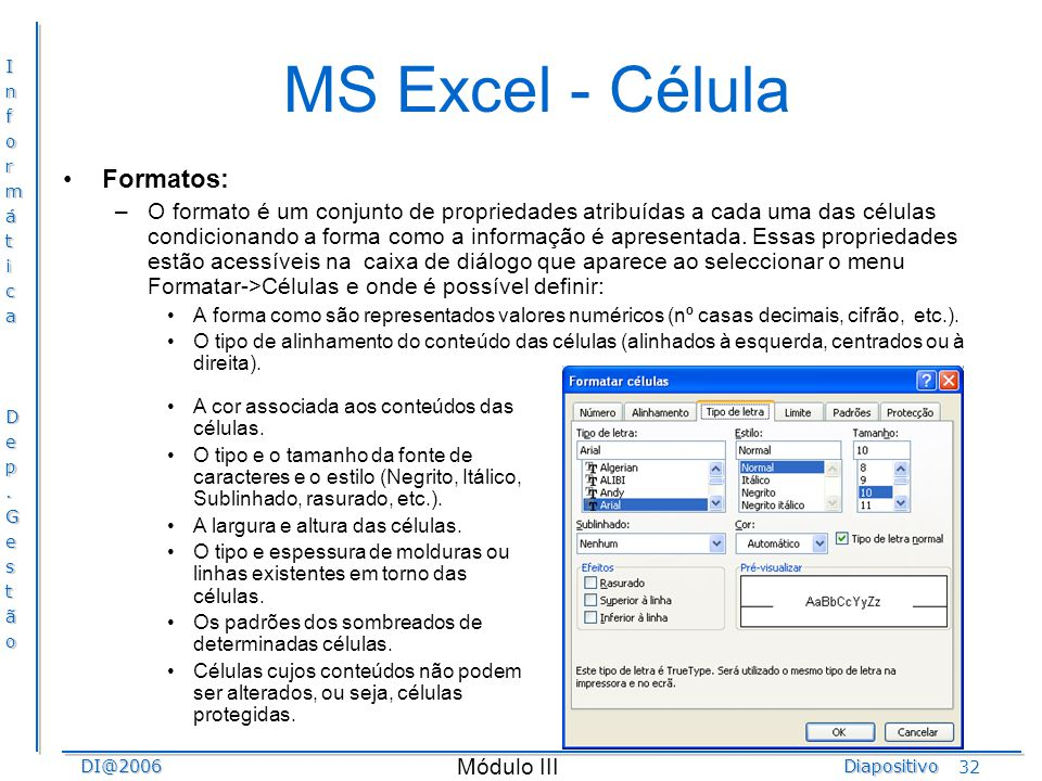 MS Excel - Célula Formatos: